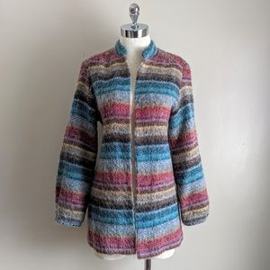 vintage 70s rainbow textured knit cardigan sweater